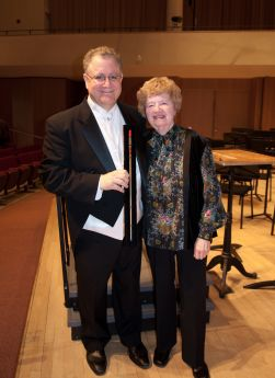 Shirley Miller presents baton to Maestro Eckerling